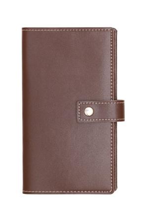Brown recouvert de cuir livre sur fond blanc Banque d'images - 13354955
