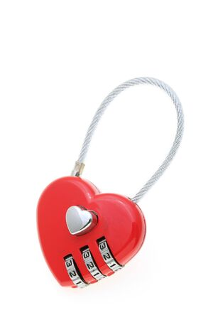 Padlock isolated on white background, heart-shape Stock Photo - 13451346