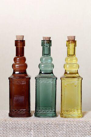 Vintage glass bottle on shelf     photo