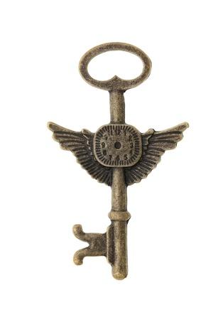 Antieke sleutel geà ¯ soleerd op witte achtergrond Stockfoto