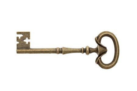 Antique key isolated on white background photo