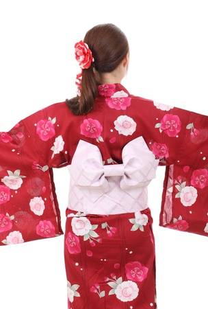 Back view of young asian woman with clothing kimono