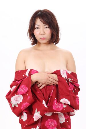 Picture of naked woman in kimono  photo