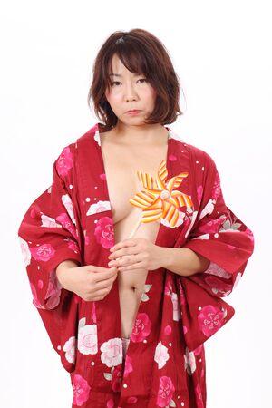 Foto de mujer desnuda en kimono Foto de archivo - 16144823