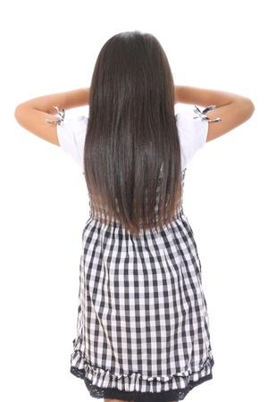 小さな女の子に立って泣いているの背面図