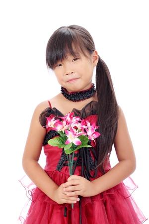 Photo of little asian girl holding flower Stock Photo - 16334302