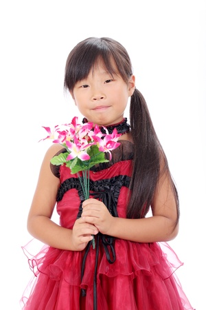 Photo of little asian girl holding flower Stock Photo - 16334300