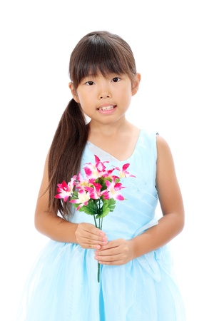 Photo of little asian girl holding flower photo