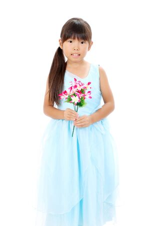 Photo of little asian girl holding flower Stock Photo - 16334287
