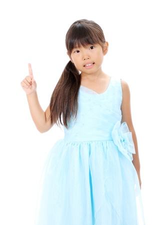photo of little asian girl rise hand pointing
