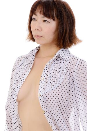 Portrait of sexy young asian woman breast in shirt  Stock Photo - 17544617