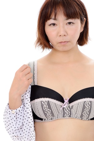 Sexy young asian woman in open shirt and bra Stock Photo - 17544599