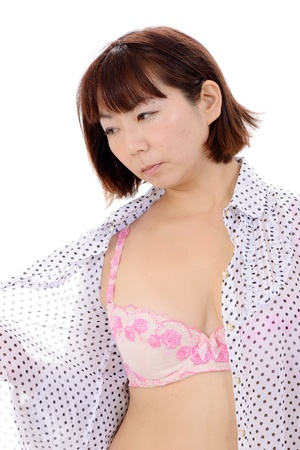 Sexy young asian woman in open shirt and bra Stock Photo - 17544597