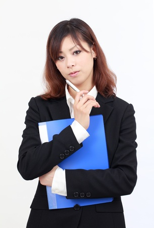 young asian businesswoman thinking photo