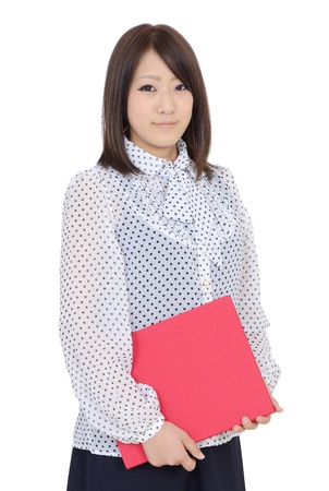 Young asian businesswoman holding file document photo