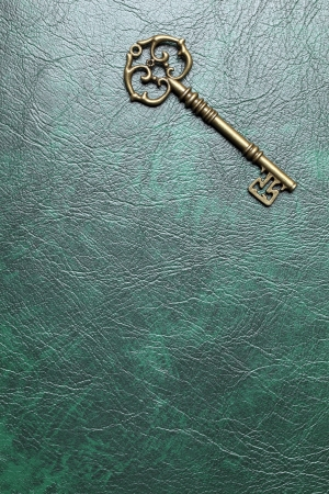 Golden key on a leather background photo