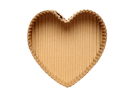 heart shaped cardboard box on white background   photo