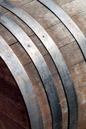 Close up of old barrel with iron hoops    photo