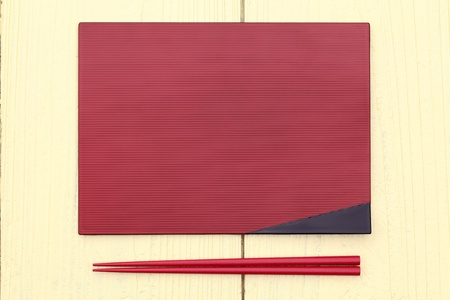 plate and chopsticks with japanese style on table photo