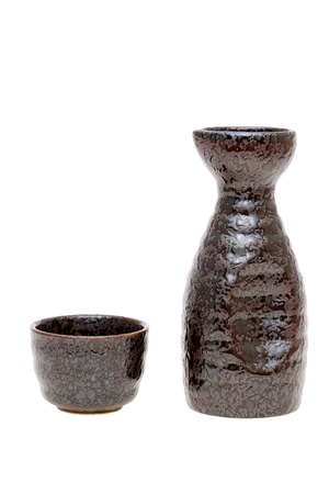 japanese traditional sake cup and bottle  photo