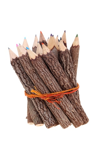 Bundle of tree trunk pencils isolated on white background photo