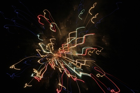 Fireworks with slow shutter speed