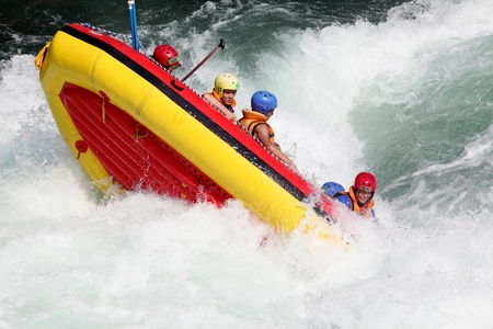 Tokusima, Japan - August 11, 2013  White water rafting on the rapids of river Yosino on August 11, 2013 in Koboke Canyon, Japan
