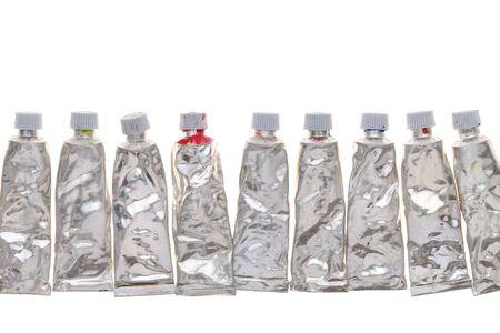 used paint tubes isolated on white background Stock Photo - 21911187