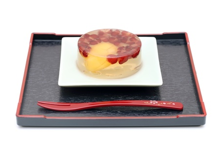 Japanese sweet jelly on plate photo