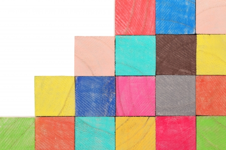 stack of colorful wooden toy blocks photo