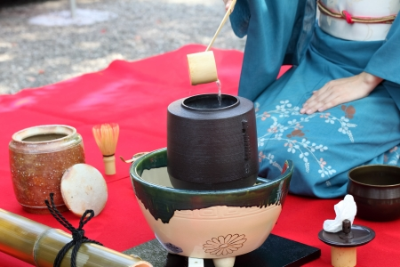 Japanese tea ceremony in garden photo