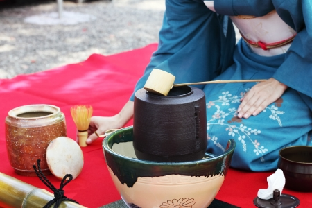 etiquette voyage: Cérémonie du thé japonais dans le jardin