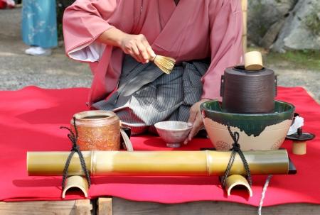 Japanese tea ceremony in garden