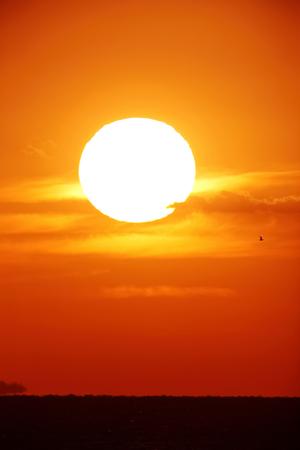 Heldere grote zon aan de hemel