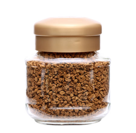 instant coffee in glass jar isolated on white background  photo