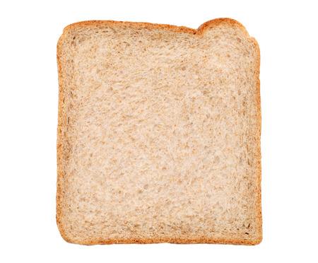白い背景上に分離されて全粒粉のパンをスライスしました。