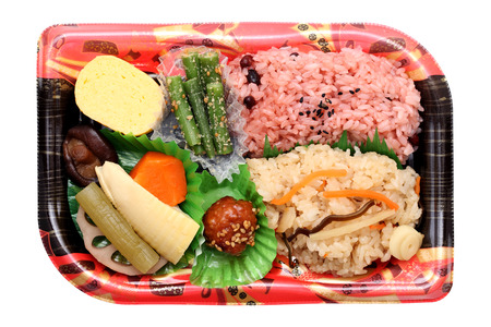 Japanese bento lunch isolated on white background Stock Photo