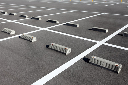 Car parking lot with white mark photo