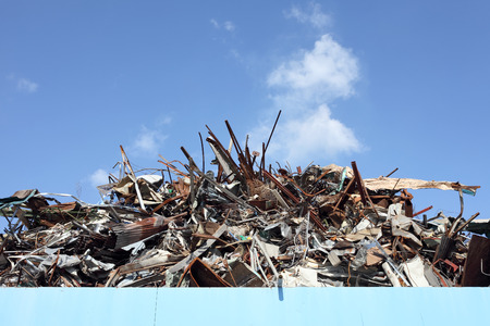 Pile of scrap metal at a recycling facility