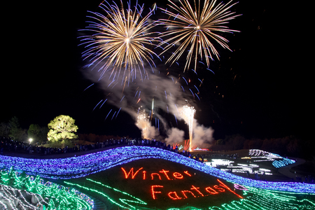 colorful fireworks and illumination christmas light photo