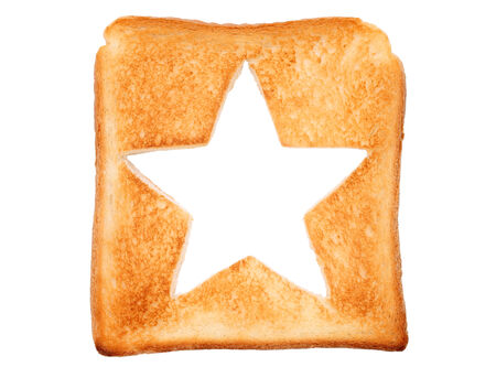 toasted slice of bread with hole star shape photo