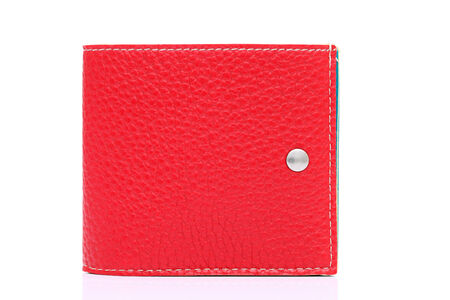 red leather wallet on a white background  photo