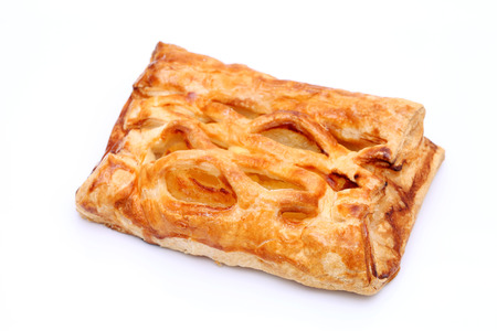 Apple pie on white background, closeup photo