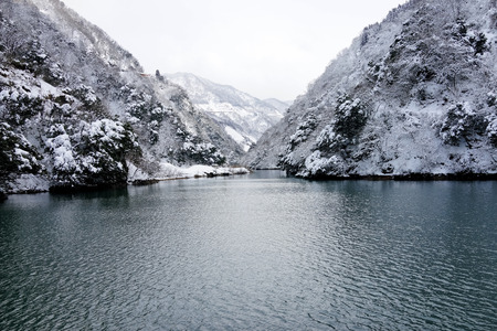 Frosty and snowy winter of lake, Karuizawa, Nagano, Japan  photo