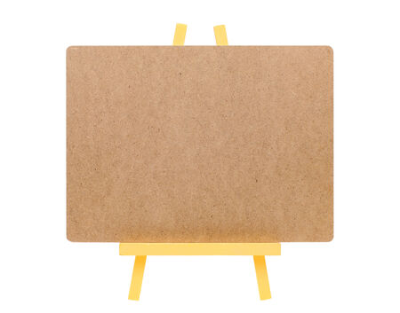 blank board and woodsen easel isolated on a white background Stock Photo