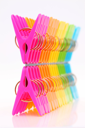 Colorful plastic clothespin photo