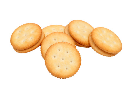sandwich biscuits with white cream on white background 写真素材