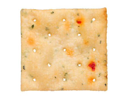 Vegetable salty crackers isolated on white background photo