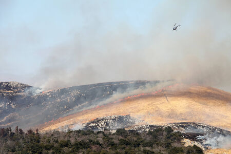 Huge bush fire at the mountain in Japan