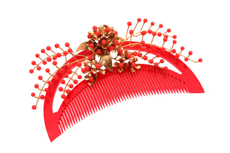 hairpin: beautiful red comb isolated on white background